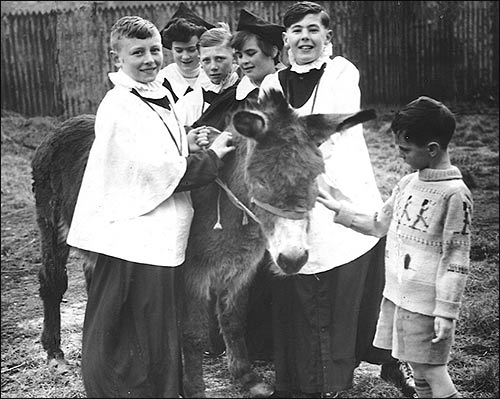A donkey was part of the service on Palm Sunday in the 1950's