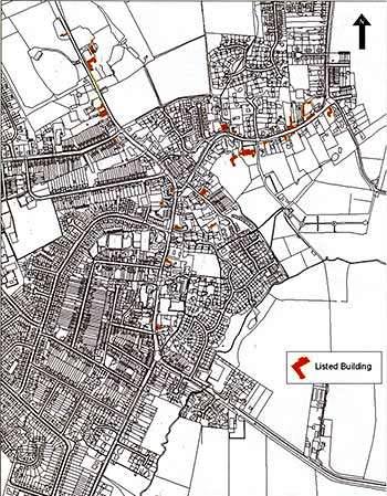 Listed buildings marked in red