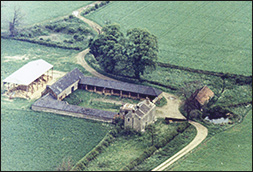 A 1965 aerial view of Glendon farm, east of the A6 and approached by the lane in the foreground