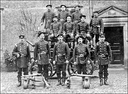 Proud firemen with their engine at Burton Latimer Hall c1905