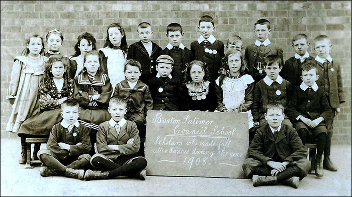 Burton Latimer Council School - large group and teacher, early 1900s