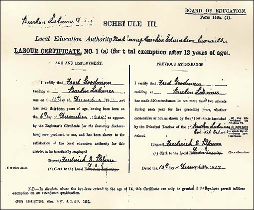 Board of Education Labour Certificate issued to Fred Goodman in 1917