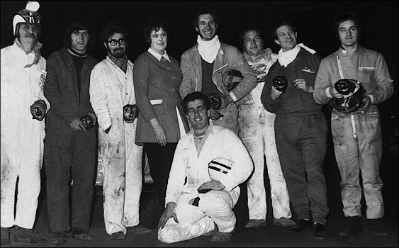 Team Brayfield win the team race award at a banger racing meeting at Long Eaton in 1970