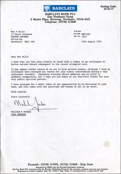 Letter from Barclays Bank - August 1995
