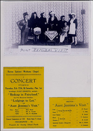"Photograph and posters of drama group at Wesleyan Chapel showing Mabel Dainty (Allen) starring in the play ""Aunt Jemima's Visit"""