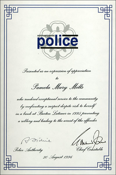 Certificate presented to Pam Mills