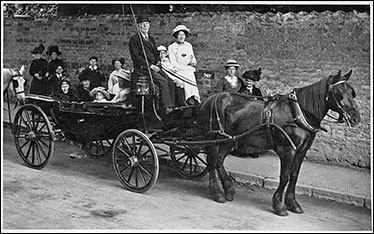 Anna Maria preston in her carriage for a Church outing