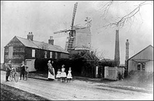 The windmill and Windmill Cottages in the late 19th century