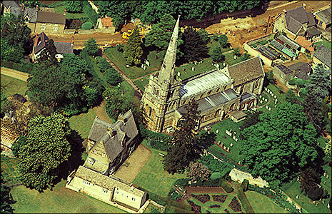 Aerial View of Manor House and the Parish Church in 1960s