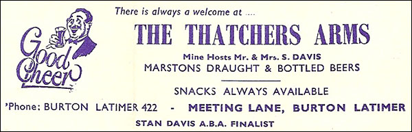 Advertisement for The Thatchers Arms found in a programme from the Electric Palace dated about 1956.