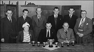 Photograph of The Red Cow Darts Team, taken probably in the 1950s.