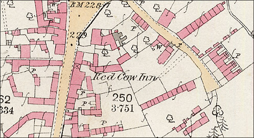 The Red Cow Inn on the 1886 Ordnance Survey Map for Burton Latimer