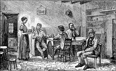 Picture of the interior of a village inn dated 1872, thought to be that of The Thatcher's Arms.