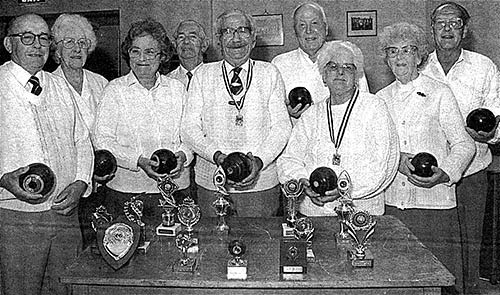 Short Mat Bowlers: Left to Right: Harry Morris, Hilda Thurlow, Joy Dacre, Geoff Coles, Frank Clipstone, Arthur Nokes, Christine Bulley, Cis Haynes and Jim Bulley