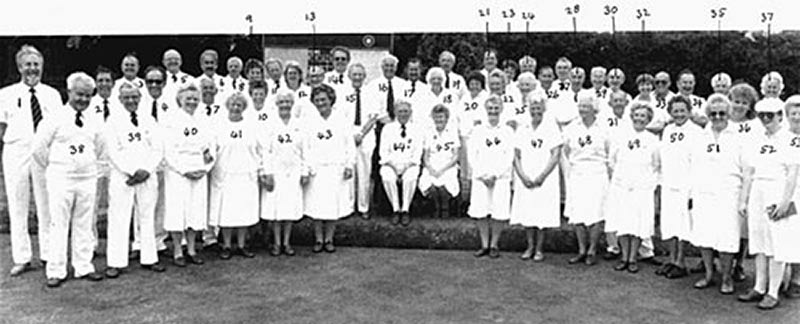 All the members of the Town Bowls Club with captains, Pete Tomlinson and Megan Britten seated in the centre