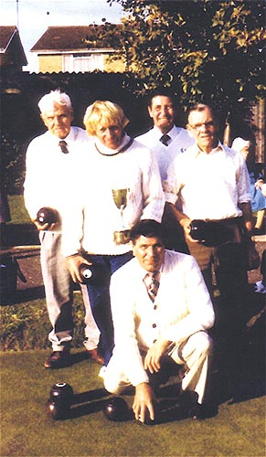 Town Bowls League Champions - 1982.  Standing: Edgar Watson,l Vic Gater, John Coles and Harry Althorpe.  Kneeling: Sid Fuller