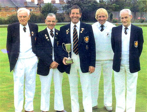 League Champions - 1984.  Left to Right: Edgar Watson, Harry Althorpe, John Coles, Vic Gater, Norman Dacre