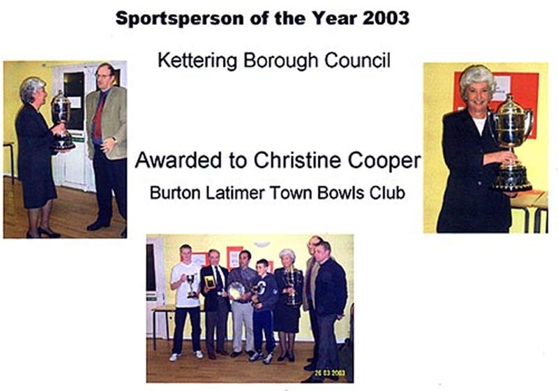 Christine Cooper - Kettering Sportsperson of Year 2002