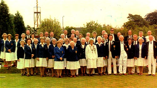 The Bowls Club - 1986 with Miss Margaret Atkinson (County Ladies President) in the centre