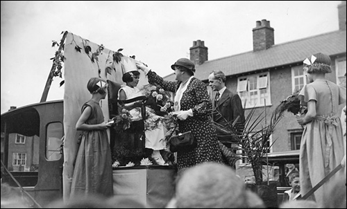 The ceremonial crowning of the Queen of the Co-operative Day Parade c.1938