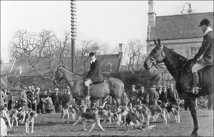 The Woodland Pytchley hunt meets in Hall Field prior to moving off.