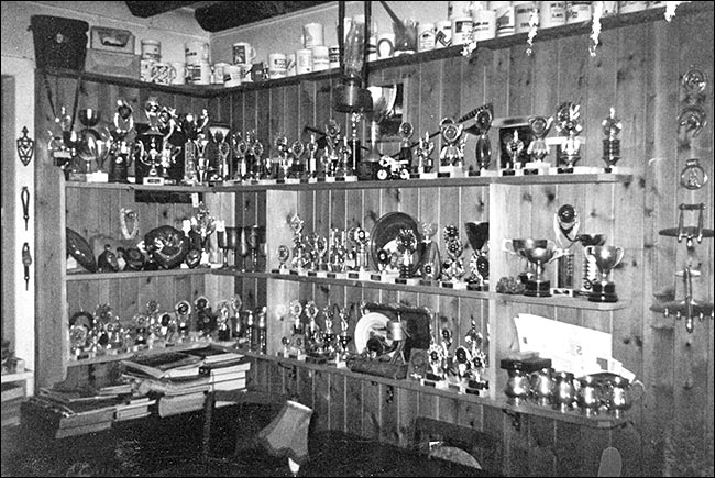 Les Judkins's trophy room. He won more than 200 trophies from 1955 onwards.