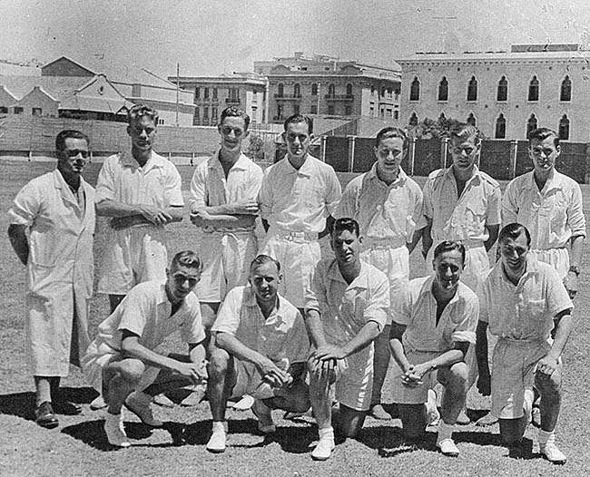 WO Dick Cooper umpires an RAF Cricket XI Team in Egypt