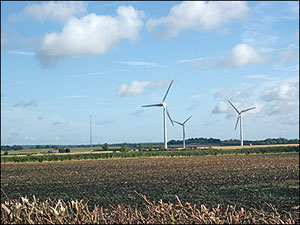 View of the Wind Farm showing 3 of the 10 turbines